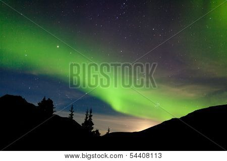 Moon Rise Hills Northern Lights Aurora Borealis