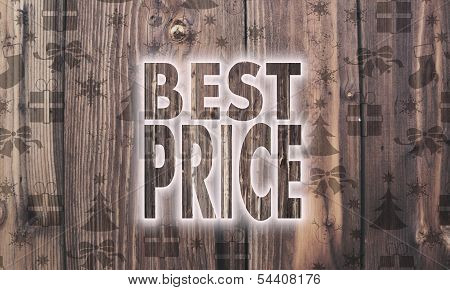 Wooden Best Price Label With Presents