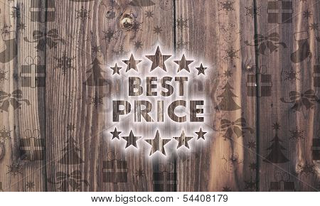 Wooden Best Price Symbol With Presents