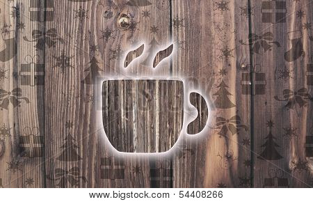 Wooden Coffee Symbol With Presents