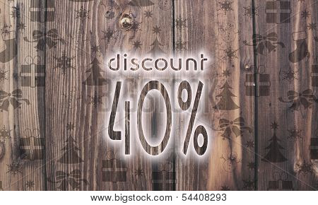 Wooden Discount Label With Presents