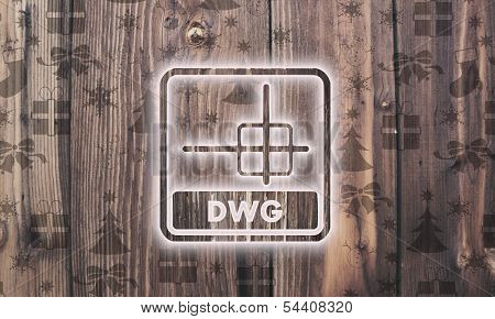 Wooden Dwg File Label With Presents