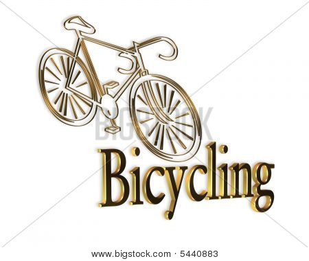 Cycling Logo Gold Bicycle
