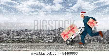 Happy Running Delivery postman with Christmas presents