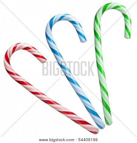 Mint hard candy cane striped in Christmas colours isolated on a white background. Closeup.