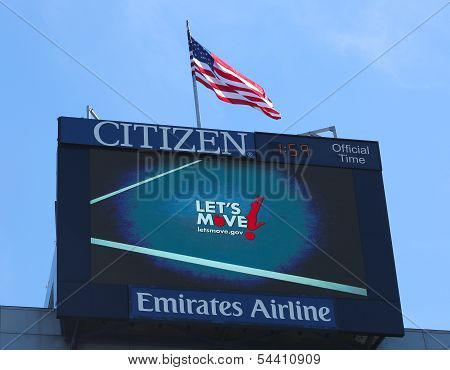 Arthur Ashe Stadium scoreboard promoting Let's move program developed by First Lady Michelle Obama