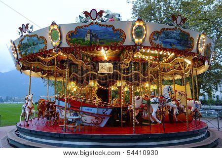 Traditional fairground carousel in Annecy, France