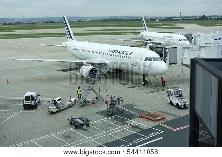 Air France Airbus A320 jets at the gates at Orly Airport in Paris