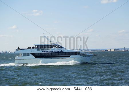 SeaStreak ferry boat rides at the New York Harbor