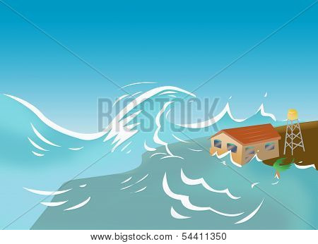 Tsunami or Storm Surgeconcept illustration
