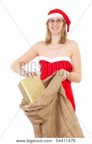 Smiling Mrs. Claus With Jute Bag And Golden Gift