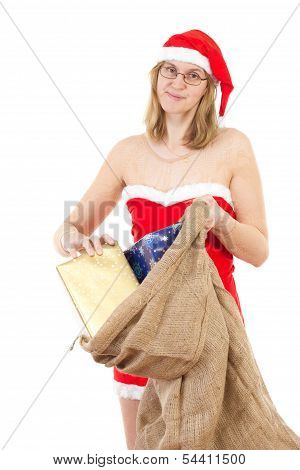 Mrs. Claus Having Many Nice Gifts For Christmas