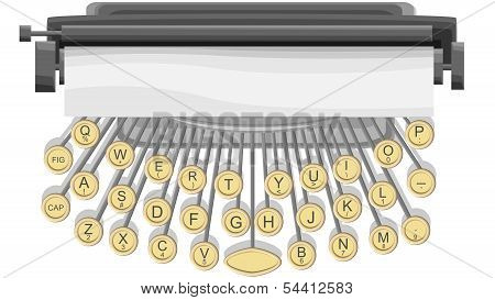 Horizontal Illustration Of Typewriter.