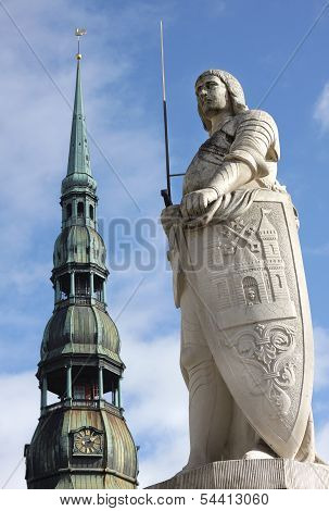 The Statue Of Roland And The Church Of St. Peter In Riga, Latvia.