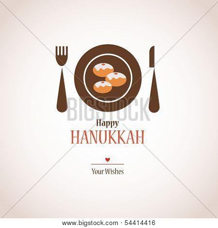 hanukkah dinner invitation,  traditional donuts on plate