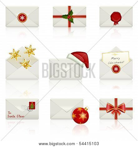 Set Of Vector Icons: Christmas Envelopes.