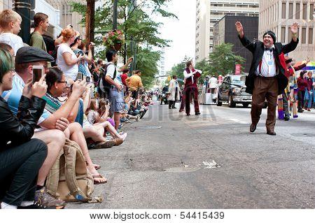 Large Crowd Of Spectators Watch Dragon Con Parade In Atlanta