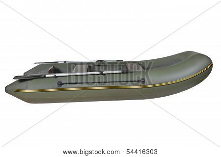 Green, Rubber, Inflatable Rowing Boat, Isolated On White Background.