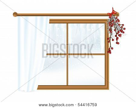Winter Landscape In Window