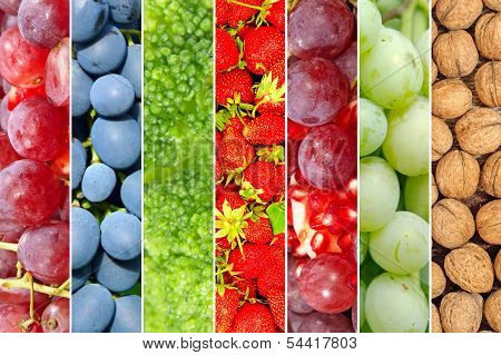 Ripe Colorful Fruits And Vegetables.