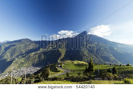 The town of Banos beneath Tungurahua volcano in the Ecuadorian Andes