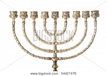 Candlestick with nine arms and white candles( chanukkiah / hanukiah for chanuka / hannukah - ????? ). Isolated on white.