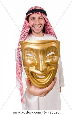Arab in hypocrisy concept on white
