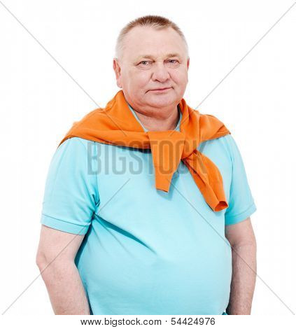 Confident middle aged man with draped over his shoulders orange pullover isolated on white background