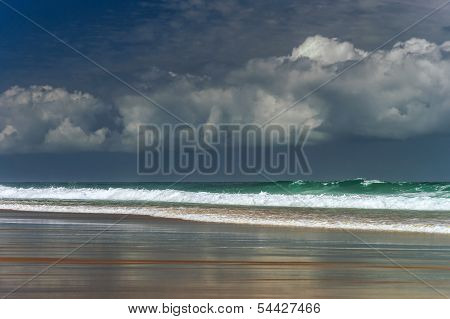 Green Ocean Waves In Stormy Wheather