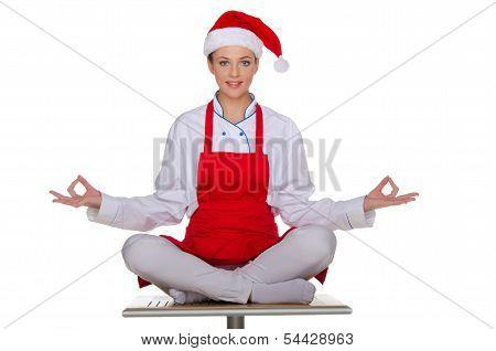 Smiling Chef In The Cap Of Santa Claus