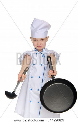 Bewildered Chef With Ladle And Pan