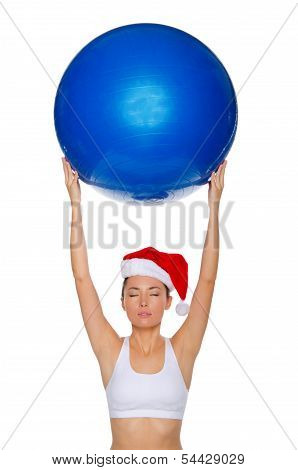 Asian Girl With Blue Ball Above His Head