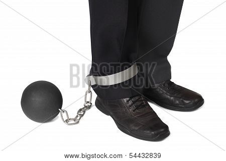 Businesman With Ball And Chain