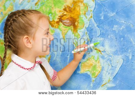 Kid By World Map