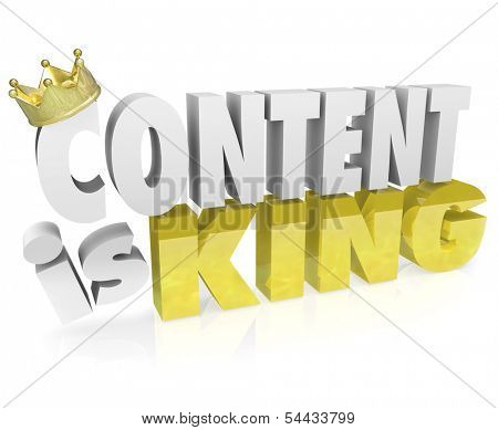 Content is King 3D Words Website Valuable Information
