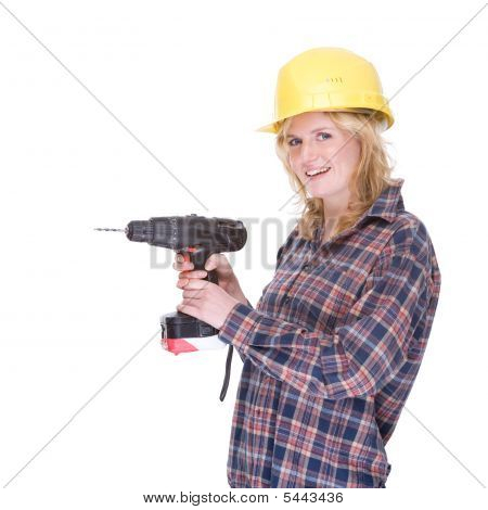 Craftswoman With Drill Machine