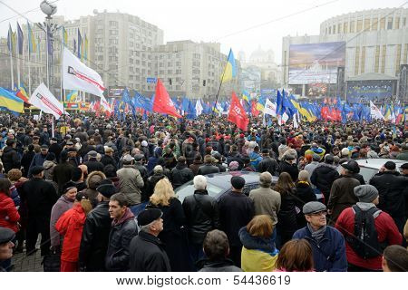 KIEV, UKRAINE - NOVEMBER 24: Mass meeting for European Integration and the government's resignation, November 24, 2013,  European square in Kiev