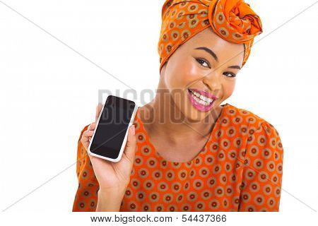 beautiful young african woman showing her smart phone