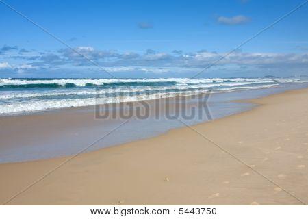 Powerful Waves Lash A Deserted Tropical Beach