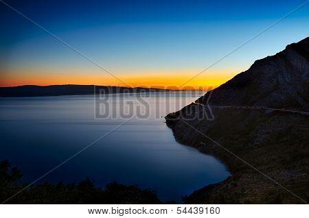 Colorful sunset at Adriatic Sea, Croatia