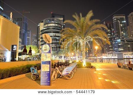 Dubai, Uae - September 8: The Bike Rental Station In Dubai Marina Of Nextbike On September 8, 2013 I