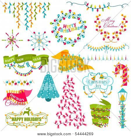 Christmas Frames, Wreath, Light bulbs Set - for design and scrapbook - in vector