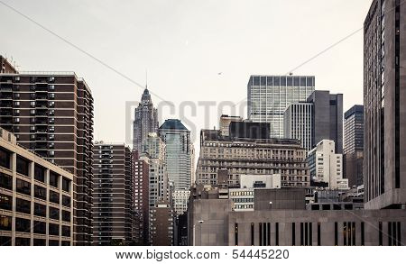 Manhattan skyline aerial view