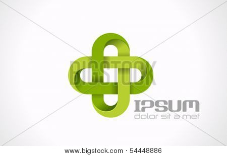Pharmacy Green cross abstract vector logo design template. Medicine, Healthcare, green eco icon