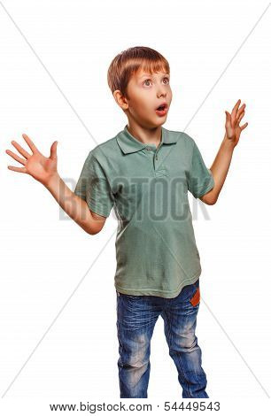 teenager boy raised his hands up baby surprised isolated