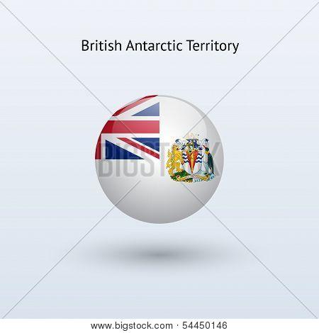 British Antarctic Territory round flag. Vector illustration.