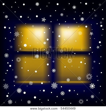 snow night window