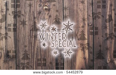 Wooden Winter Special Label With Presents