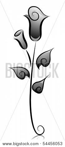Black and White Illustration of Dainty Rose Buds