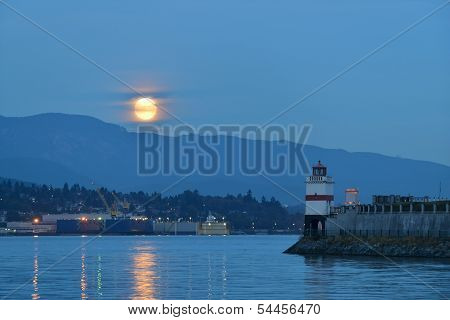 Harvest Moon And Brockton Point Lighthouse